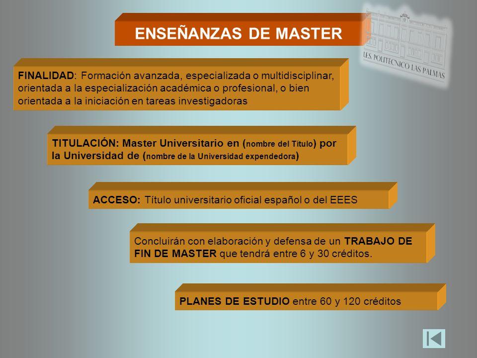 ENSEÑANZAS DE MASTER