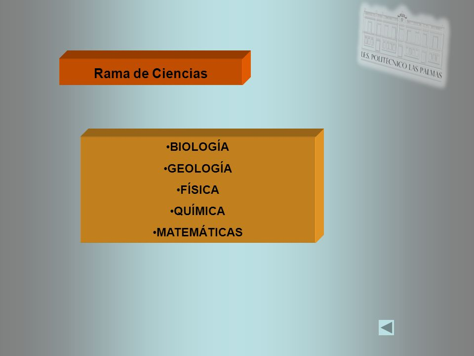 Rama de Ciencias BIOLOGÍA GEOLOGÍA FÍSICA QUÍMICA MATEMÁTICAS