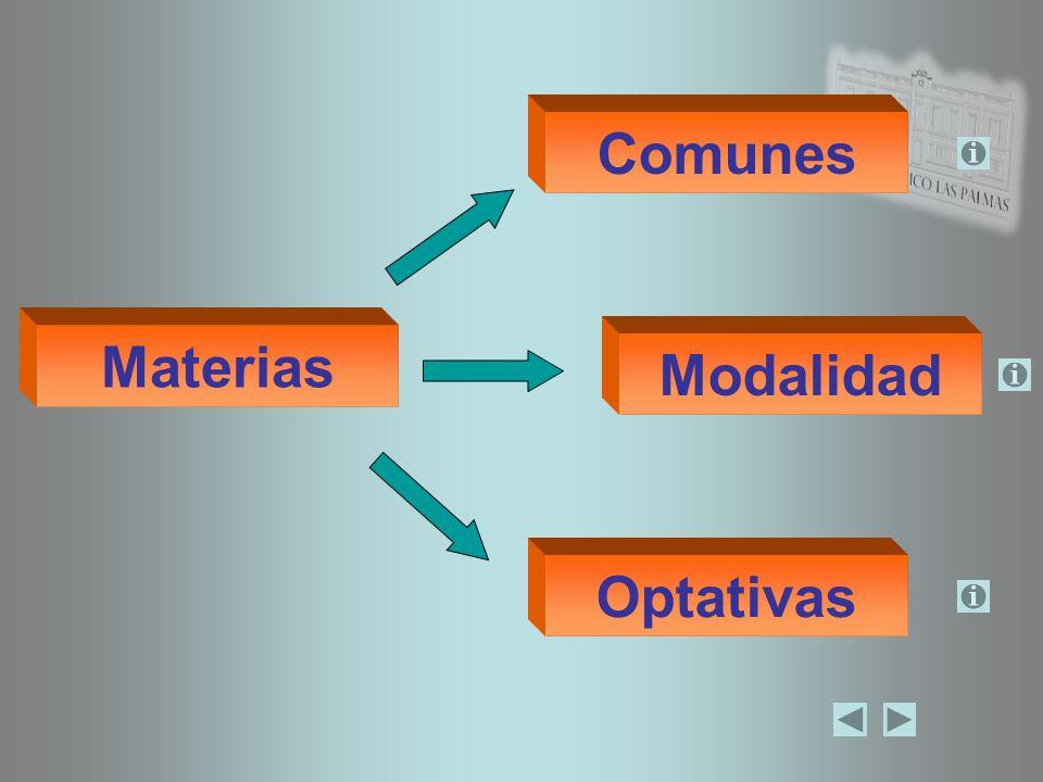 Comunes Materias Modalidad Optativas