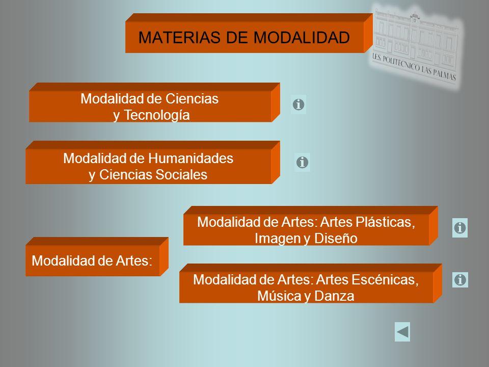 MATERIAS DE MODALIDAD Modalidad de Ciencias y Tecnología