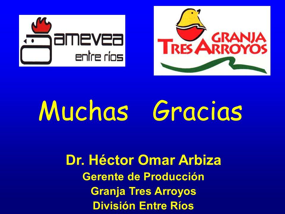 Muchas Gracias Dr. Héctor Omar Arbiza Gerente de Producción