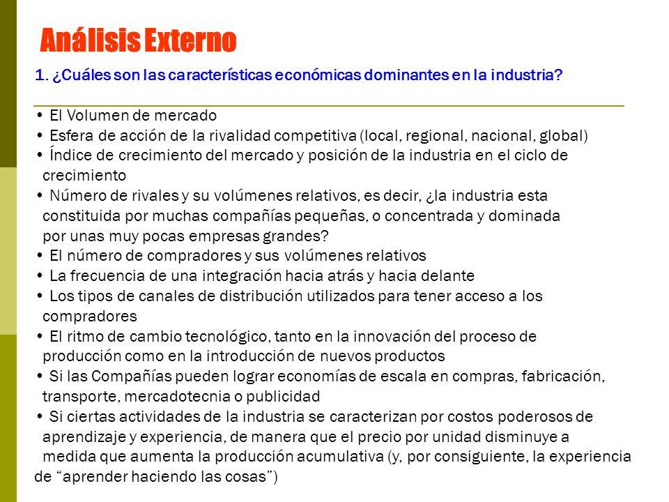 Análisis Externo 1. ¿Cuáles son las características económicas dominantes en la industria El Volumen de mercado.