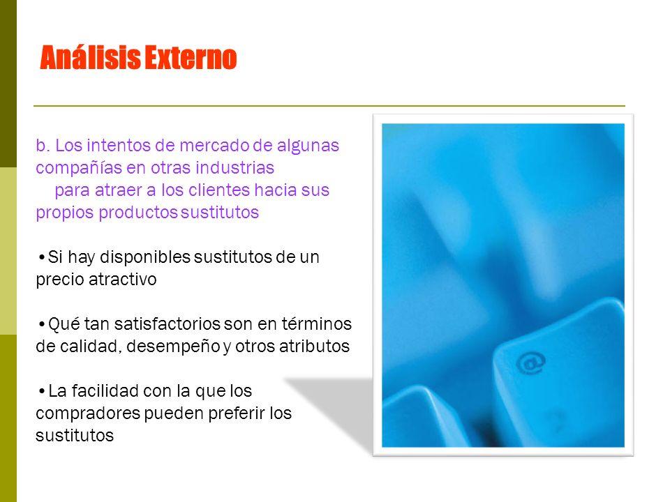 Análisis Externo b. Los intentos de mercado de algunas compañías en otras industrias.