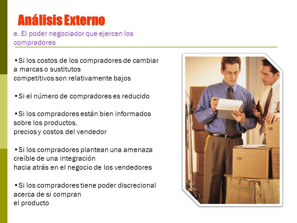 Análisis Externo e. El poder negociador que ejercen los compradores