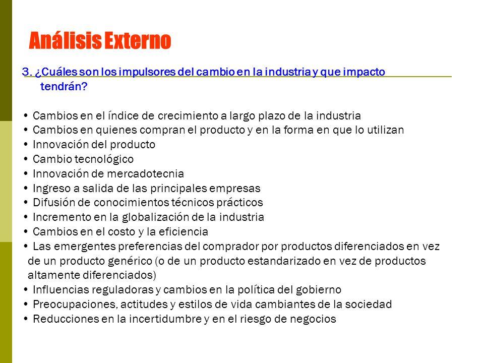Análisis Externo 3. ¿Cuáles son los impulsores del cambio en la industria y que impacto. tendrán