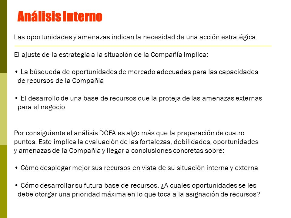 Análisis Interno Las oportunidades y amenazas indican la necesidad de una acción estratégica.