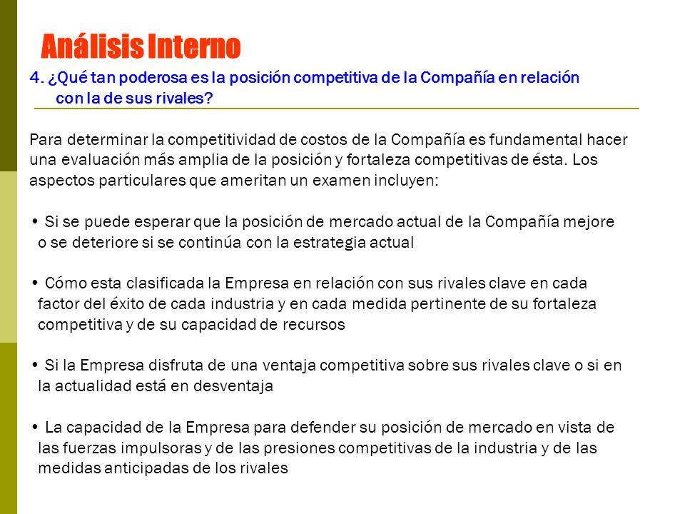 Análisis Interno 4. ¿Qué tan poderosa es la posición competitiva de la Compañía en relación. con la de sus rivales