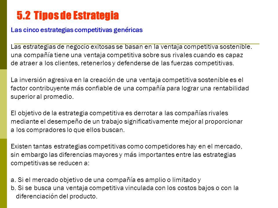 5.2 Tipos de Estrategia Las cinco estrategias competitivas genéricas