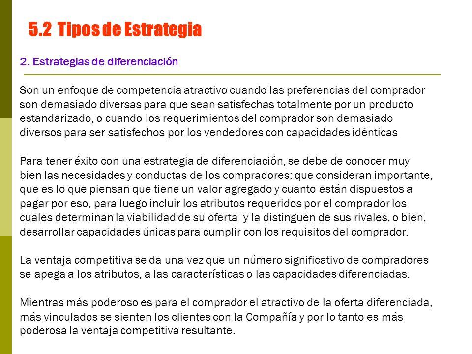 5.2 Tipos de Estrategia 2. Estrategias de diferenciación