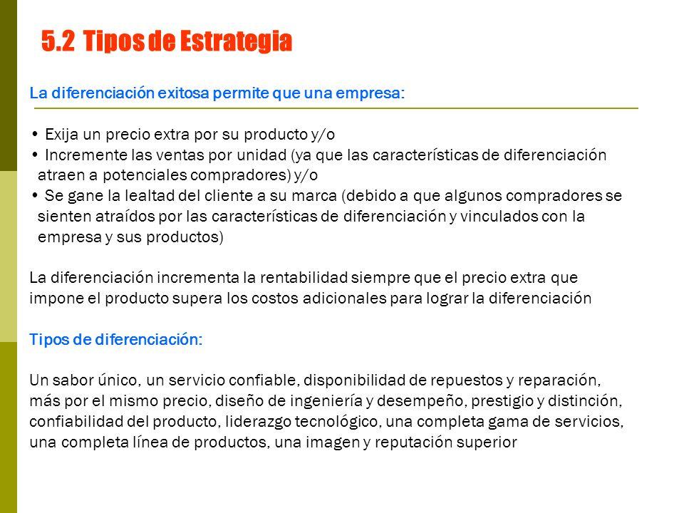 5.2 Tipos de Estrategia La diferenciación exitosa permite que una empresa: Exija un precio extra por su producto y/o.