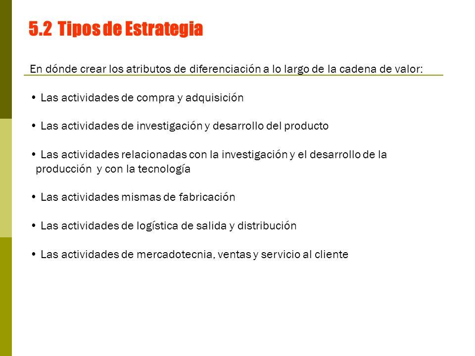 5.2 Tipos de Estrategia En dónde crear los atributos de diferenciación a lo largo de la cadena de valor: