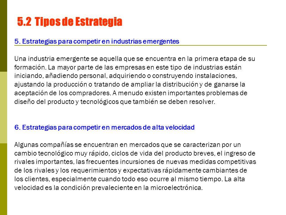 5.2 Tipos de Estrategia 5. Estrategias para competir en industrias emergentes.
