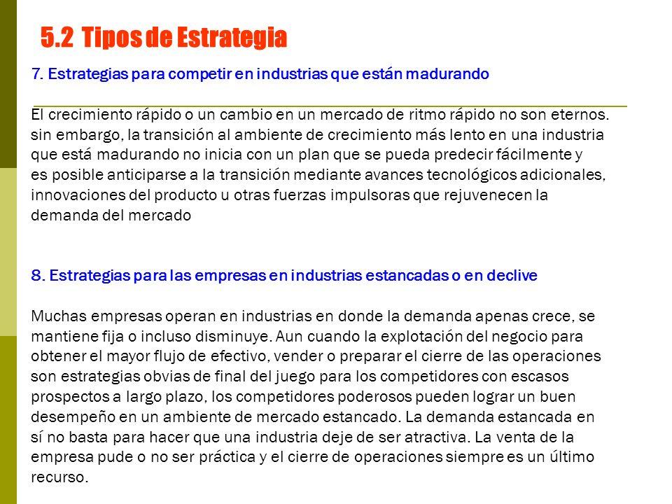 5.2 Tipos de Estrategia 7. Estrategias para competir en industrias que están madurando.