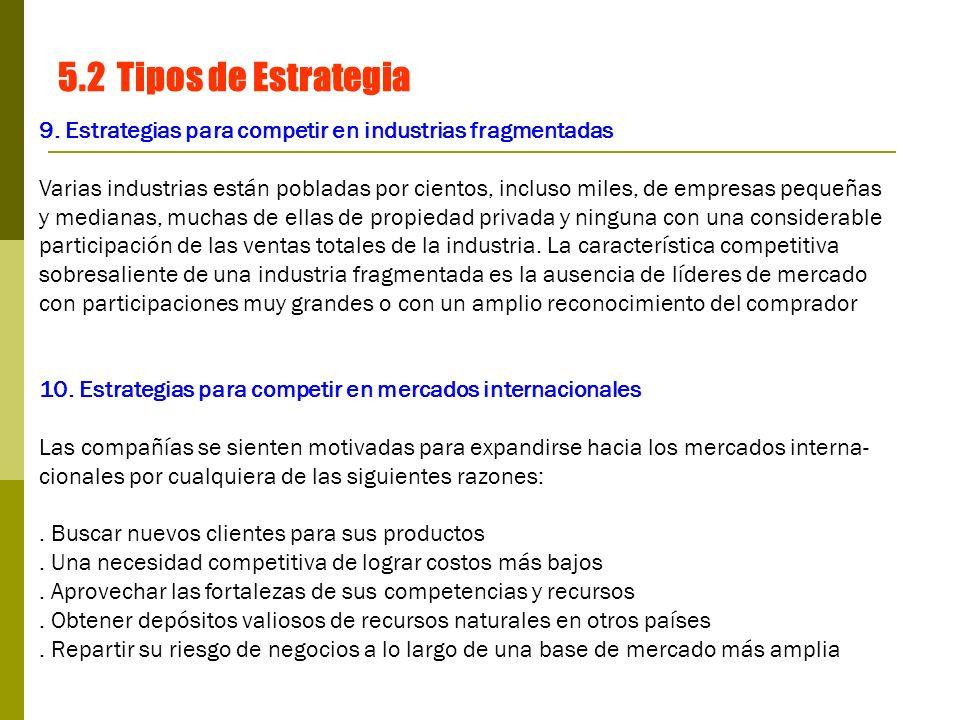 5.2 Tipos de Estrategia 9. Estrategias para competir en industrias fragmentadas.