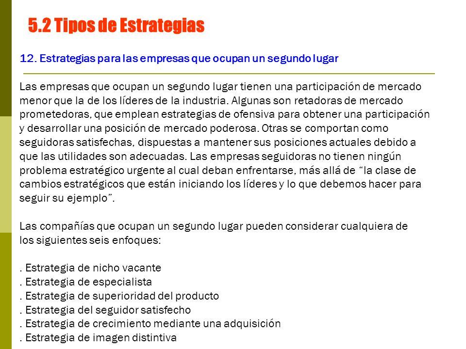 5.2 Tipos de Estrategias 12. Estrategias para las empresas que ocupan un segundo lugar.