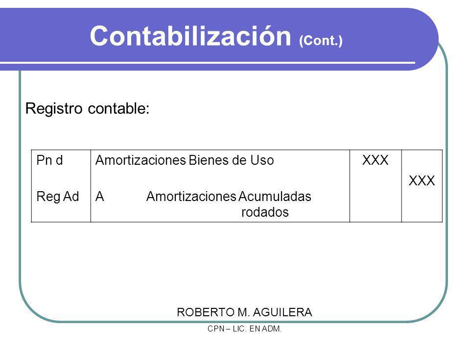 Contabilización (Cont.)