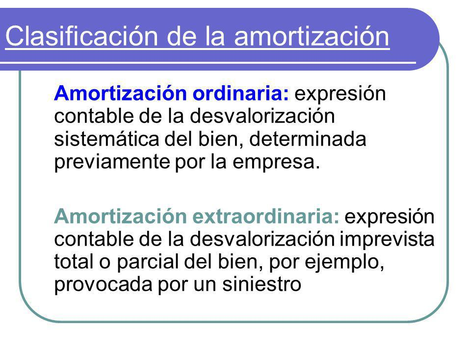 Clasificación de la amortización