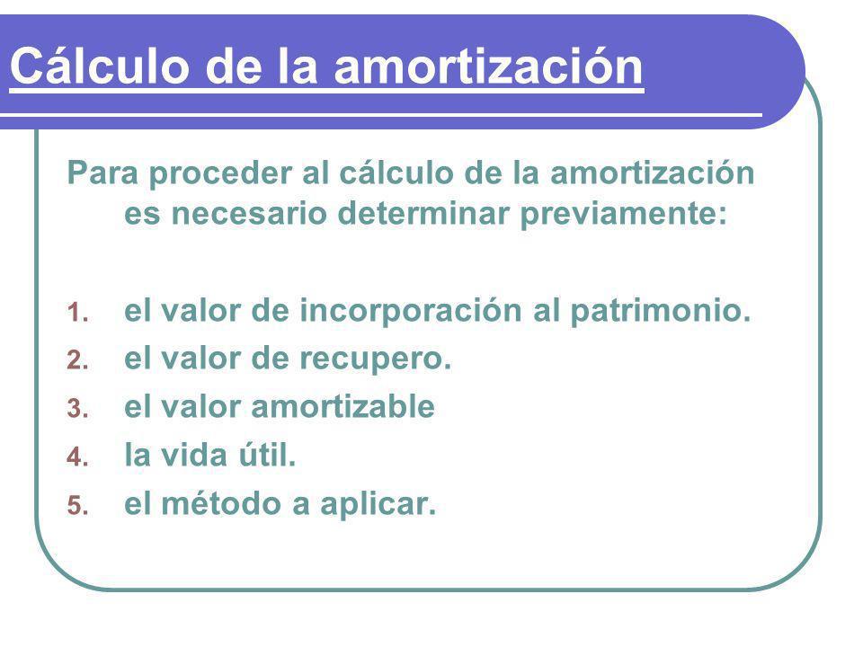 Cálculo de la amortización