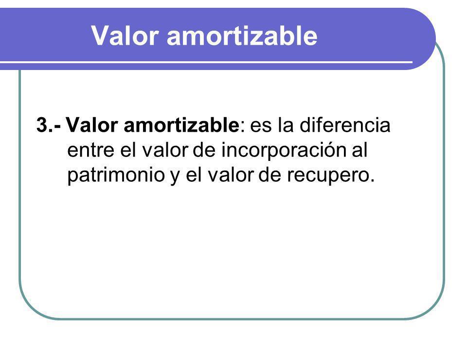 Valor amortizable 3.- Valor amortizable: es la diferencia entre el valor de incorporación al patrimonio y el valor de recupero.