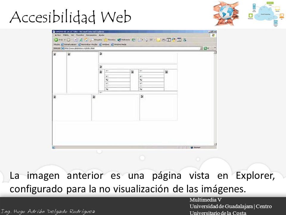 Accesibilidad Web La imagen anterior es una página vista en Explorer, configurado para la no visualización de las imágenes.