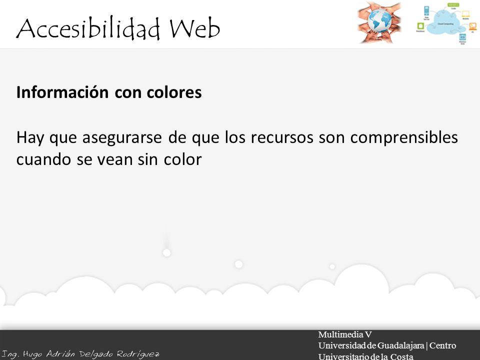 Accesibilidad Web Información con colores