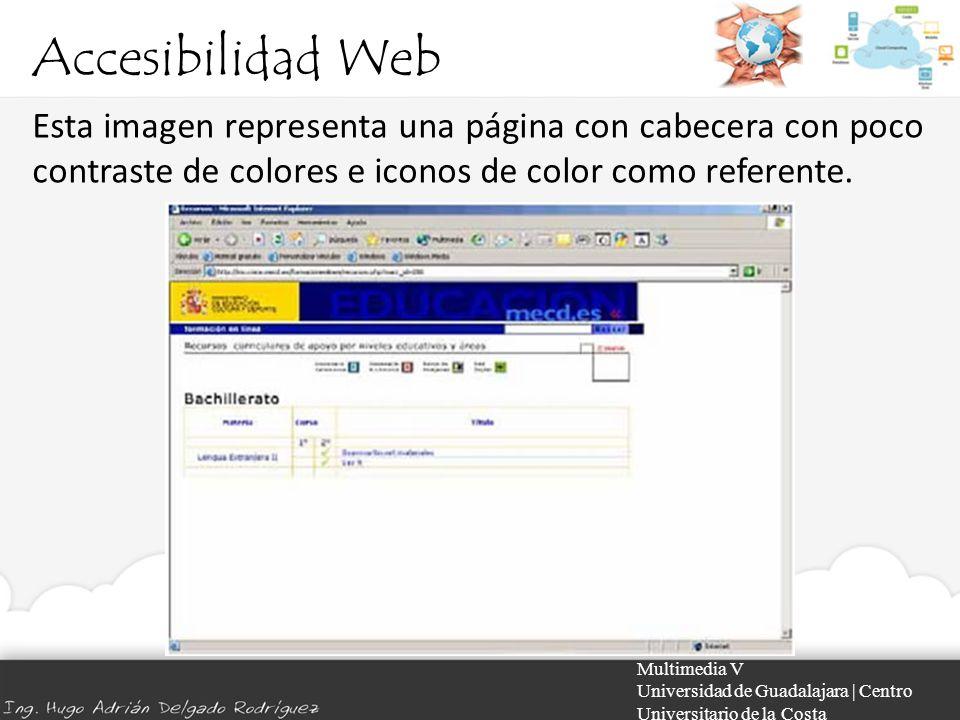 Accesibilidad Web Esta imagen representa una página con cabecera con poco contraste de colores e iconos de color como referente.