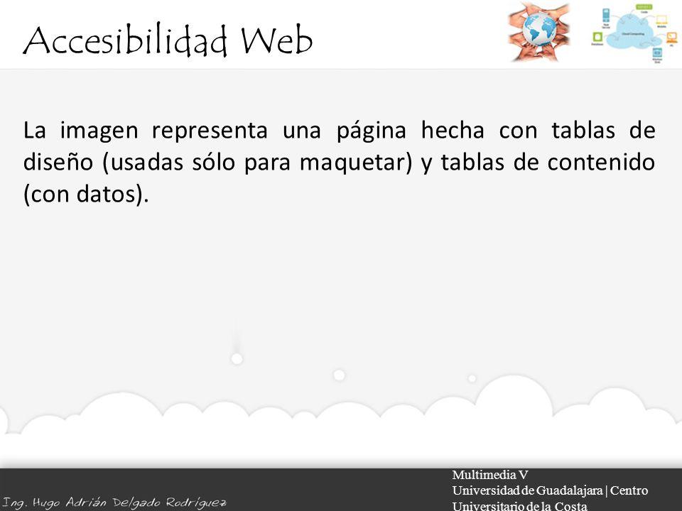 Accesibilidad Web La imagen representa una página hecha con tablas de diseño (usadas sólo para maquetar) y tablas de contenido (con datos).