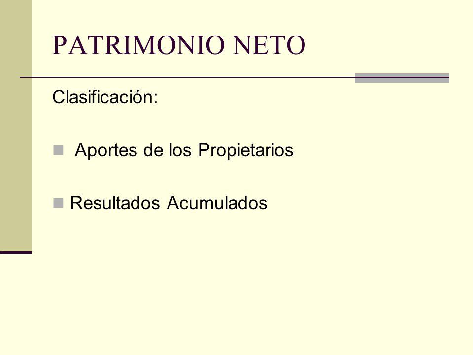 PATRIMONIO NETO Clasificación: Aportes de los Propietarios
