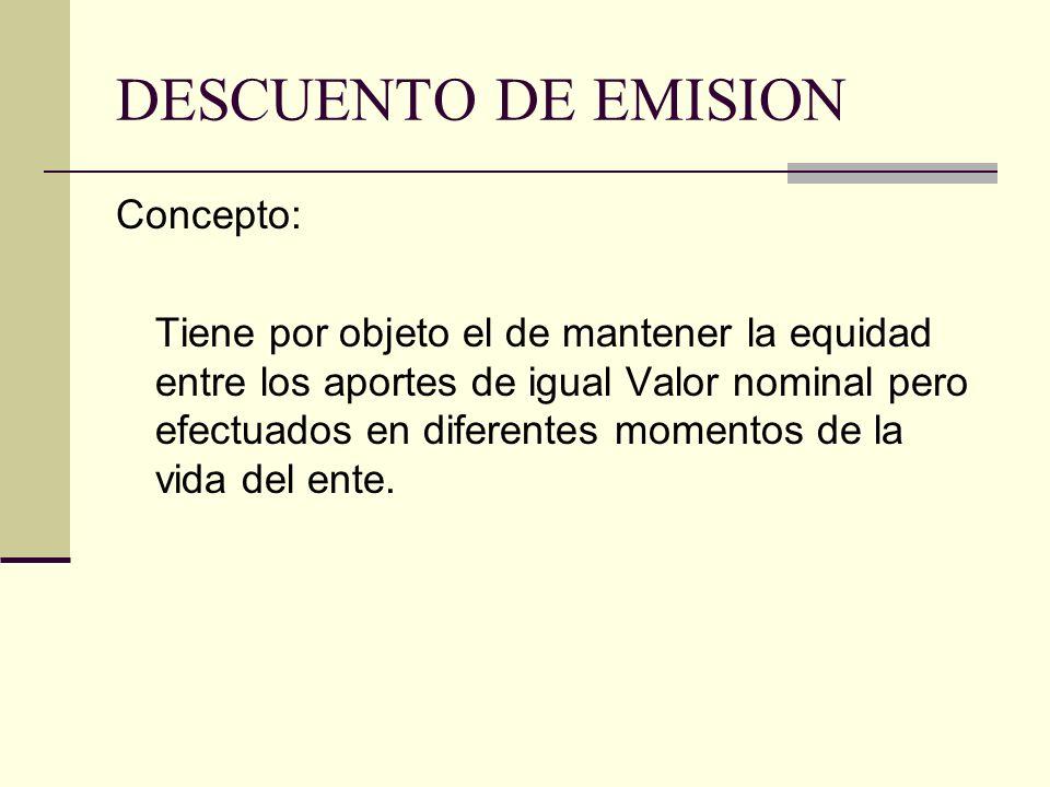 DESCUENTO DE EMISION Concepto:
