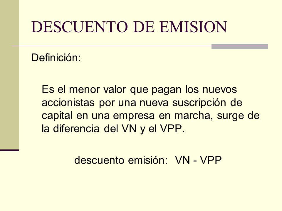 descuento emisión: VN - VPP