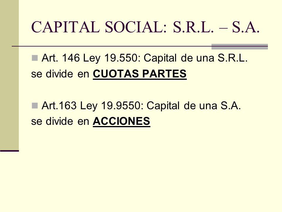 CAPITAL SOCIAL: S.R.L. – S.A.