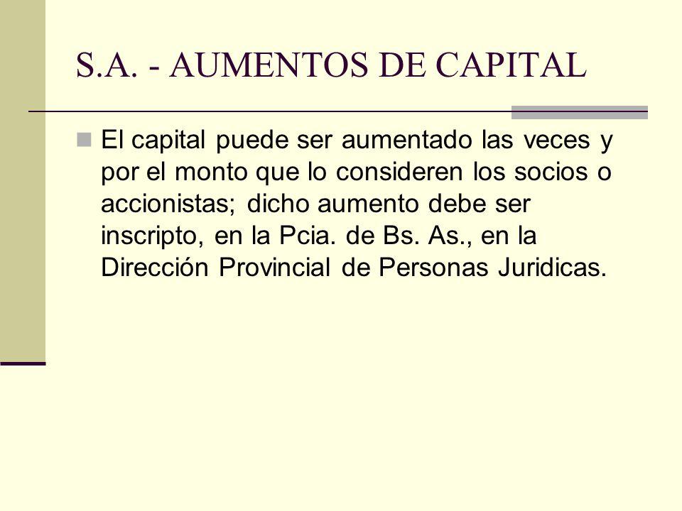 S.A. - AUMENTOS DE CAPITAL