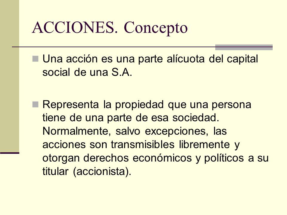 ACCIONES. Concepto Una acción es una parte alícuota del capital social de una S.A.