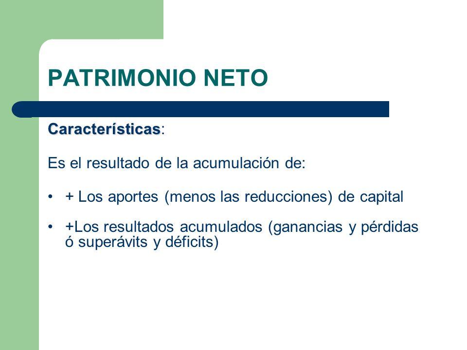 PATRIMONIO NETO Características: Es el resultado de la acumulación de: