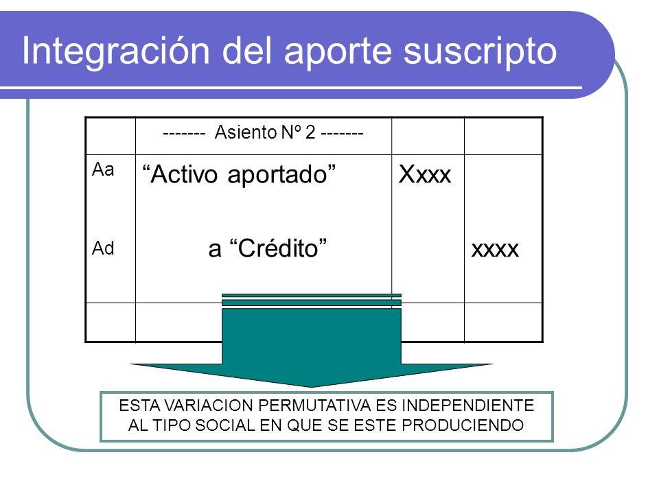 Integración del aporte suscripto