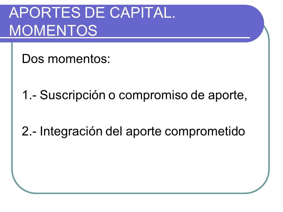 APORTES DE CAPITAL. MOMENTOS