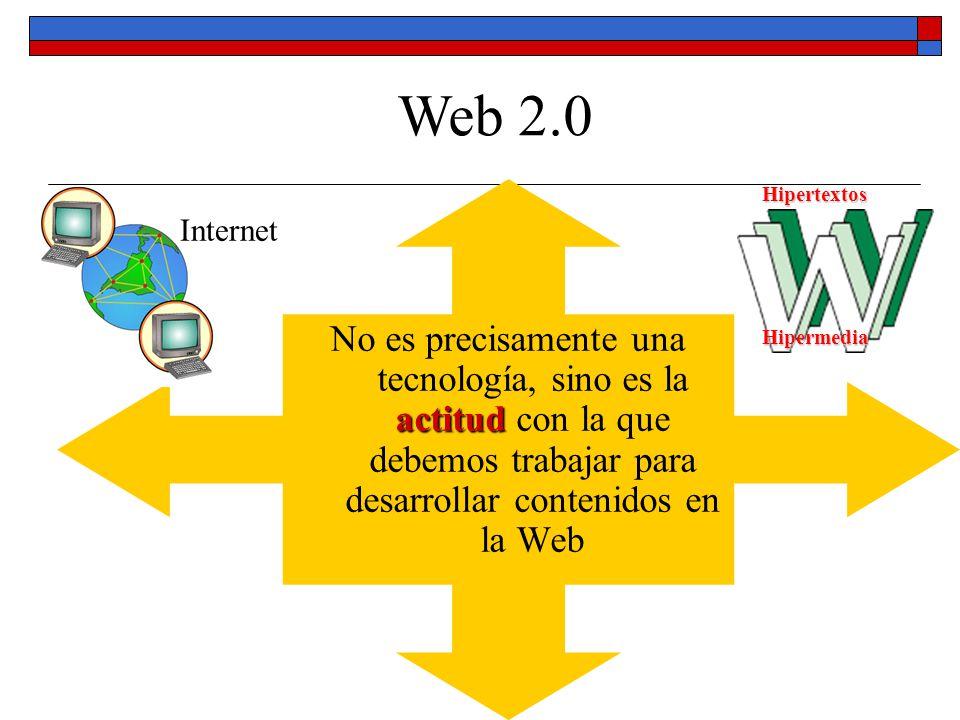 Web 2.0 No es precisamente una tecnología, sino es la actitud con la que debemos trabajar para desarrollar contenidos en la Web.