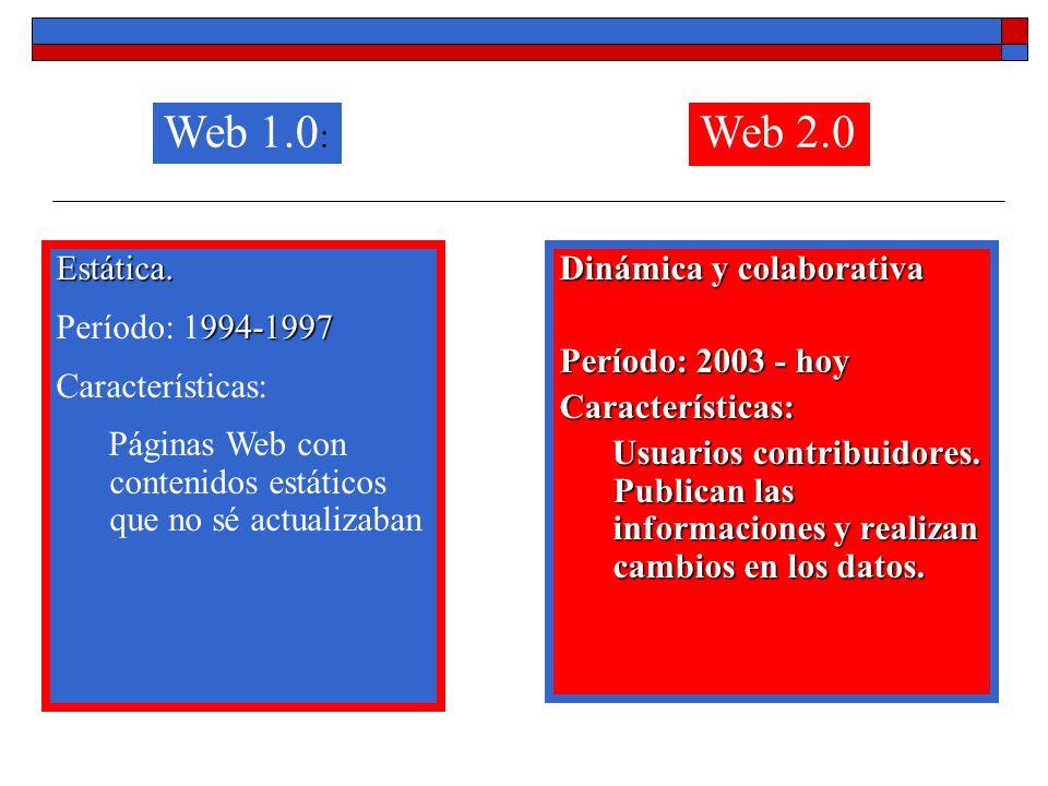 Web 1.0: Web 2.0 Estática. Período: 1994-1997 Características: