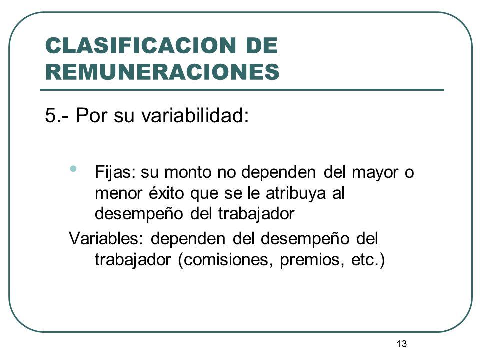CLASIFICACION DE REMUNERACIONES