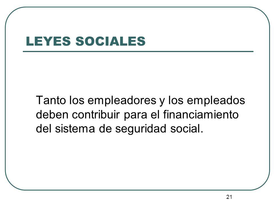 LEYES SOCIALES Tanto los empleadores y los empleados deben contribuir para el financiamiento del sistema de seguridad social.