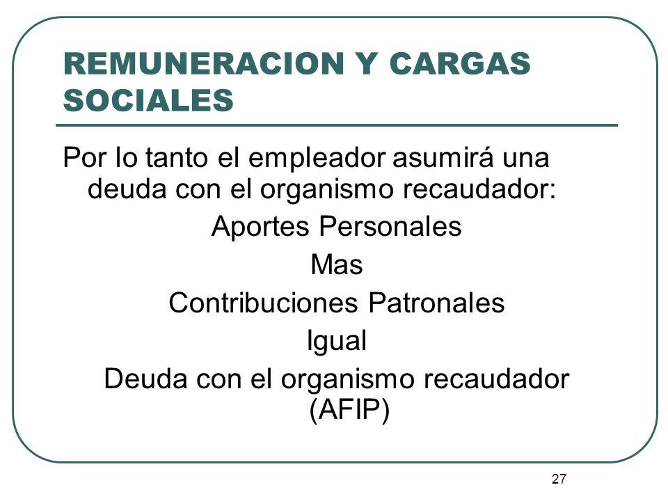 REMUNERACION Y CARGAS SOCIALES