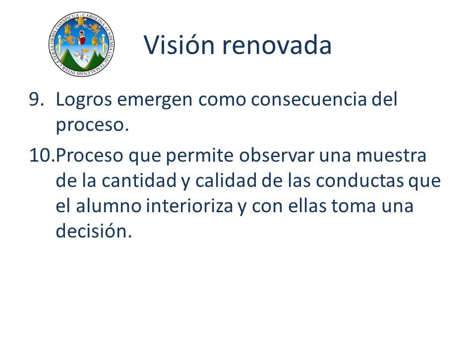 Visión renovada Logros emergen como consecuencia del proceso.