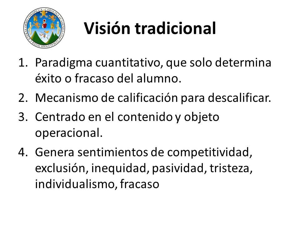 Visión tradicional Paradigma cuantitativo, que solo determina éxito o fracaso del alumno. Mecanismo de calificación para descalificar.