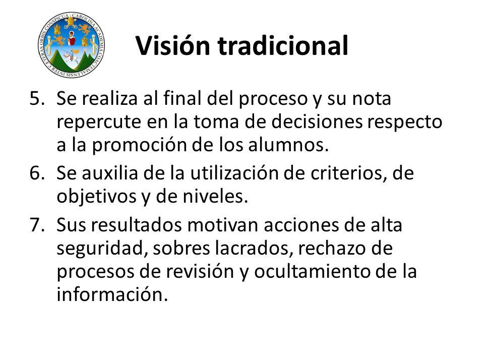 Visión tradicional Se realiza al final del proceso y su nota repercute en la toma de decisiones respecto a la promoción de los alumnos.