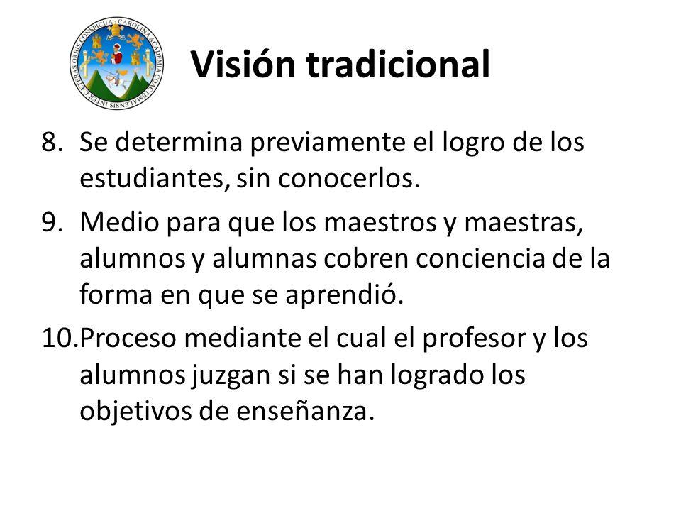 Visión tradicional Se determina previamente el logro de los estudiantes, sin conocerlos.