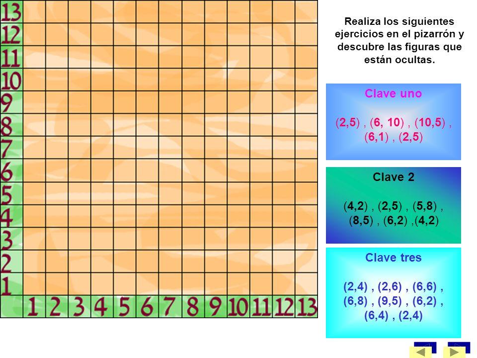 Clave uno (2,5) , (6, 10) , (10,5) , (6,1) , (2,5) Clave 2