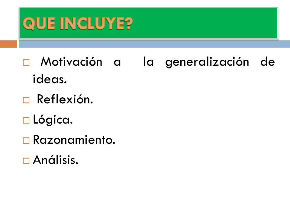 QUE INCLUYE Motivación a la generalización de ideas. Reflexión.