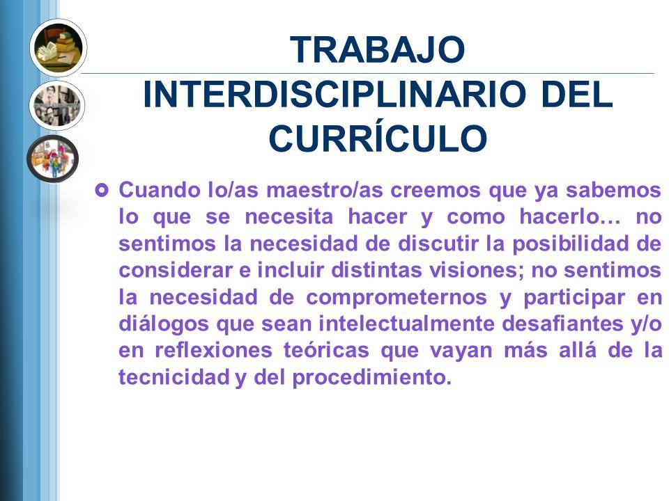 TRABAJO INTERDISCIPLINARIO DEL CURRÍCULO