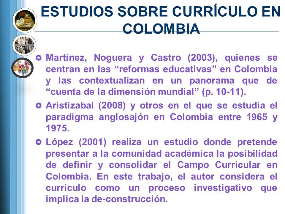 ESTUDIOS SOBRE CURRÍCULO EN COLOMBIA