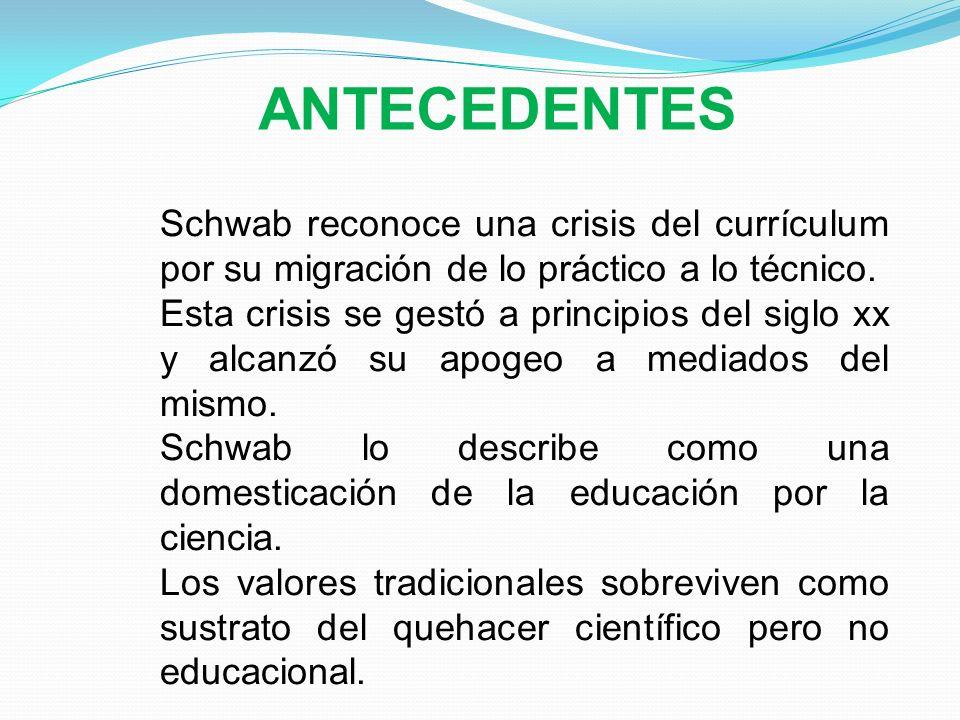 ANTECEDENTES Schwab reconoce una crisis del currículum por su migración de lo práctico a lo técnico.